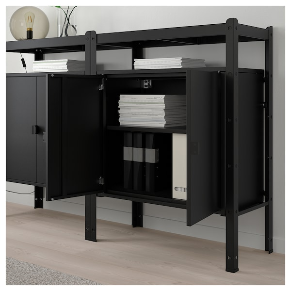 bror regal mit schrank schwarz ikea. Black Bedroom Furniture Sets. Home Design Ideas