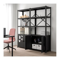 BROR shelving unit with cabinets, black