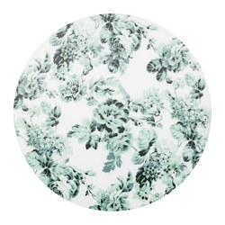 SMAKSINNE, Place mat, white/green, flower
