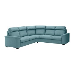 LIDHULT corner sofa-bed, 5-seat, Gassebol blue/grey
