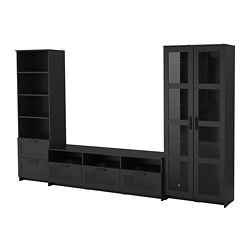 BRIMNES TV storage combination/glass doors, black