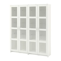 BRIMNES storage combination w/glass doors, white