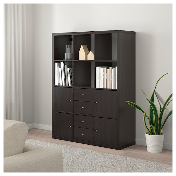 kallax regal mit 6 eins tzen schwarzbraun ikea. Black Bedroom Furniture Sets. Home Design Ideas