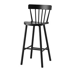 NORRARYD bar stool with backrest, black