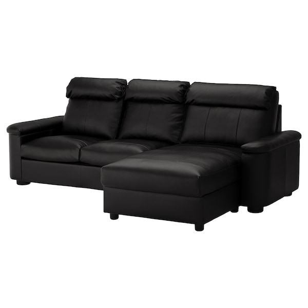 Sleeper sofa LIDHULT with chaise, Grann/Bomstad black