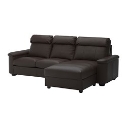 LIDHULT 3-seat sofa-bed, with chaise longue, Grann/Bomstad dark brown