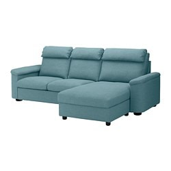 LIDHULT 3-seat sofa-bed, with chaise longue, Gassebol blue/grey
