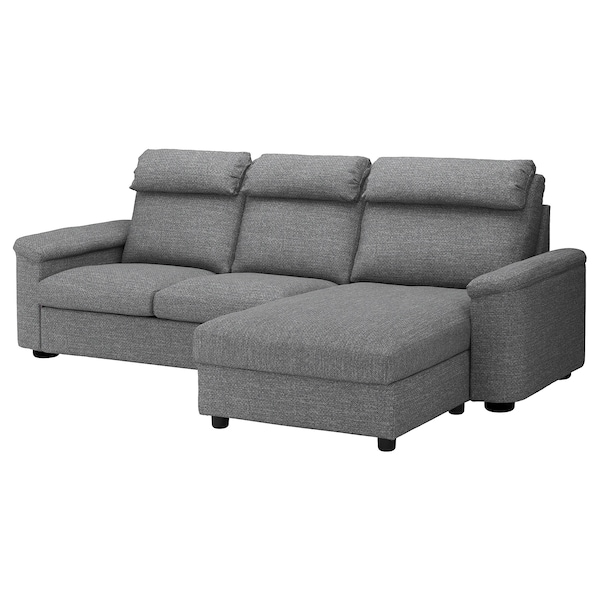 3 Seat Sofa Bed Lidhult With Chaise Longue Lejde Grey Black