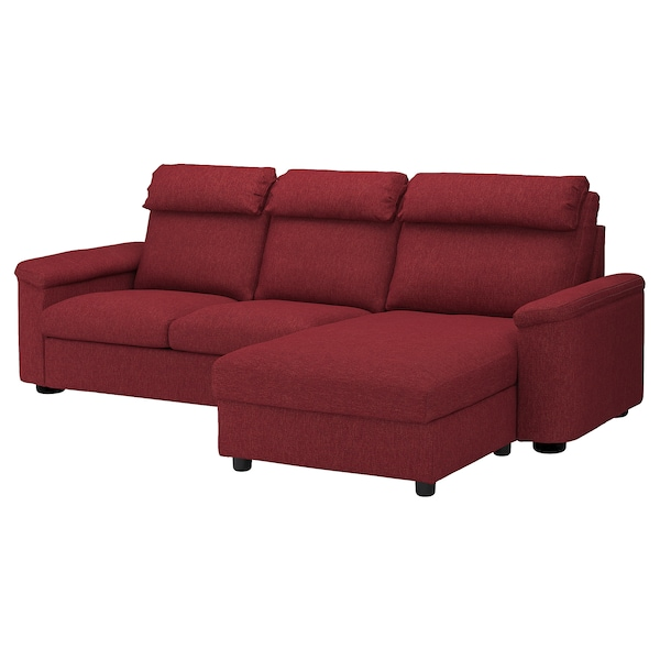 3 Seat Sofa Bed Lidhult With Chaise Longue Lejde Red Brown