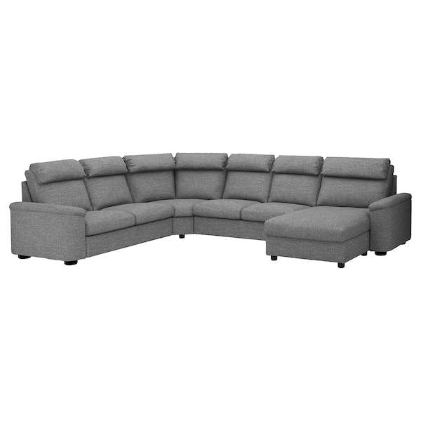 Corner Sofa Bed 6 Seat Lidhult With Chaise Longue Lejde Grey Black