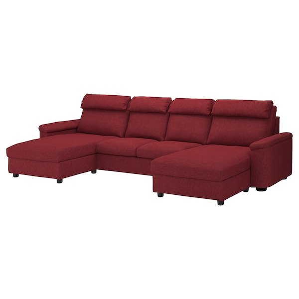 Sectional, 4-seat LIDHULT with chaise, Lejde red-brown red/brown