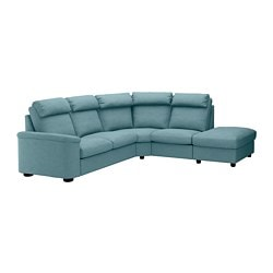 LIDHULT corner sofa, 5-seat, with open end, Gassebol blue/grey