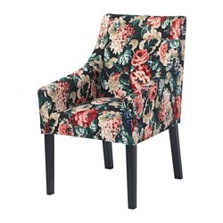 SAKARIAS chair with armrests, black, Lingbo multicoloured, dark