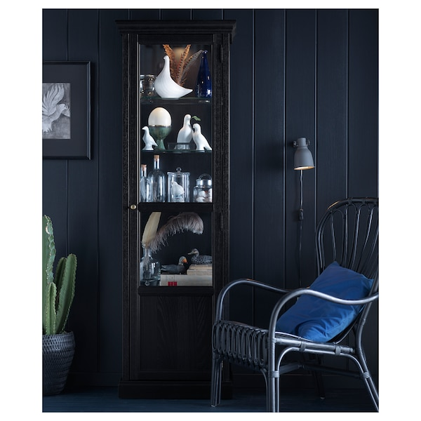 malsj vitrine schwarz gebeizt schwarz lasiert ikea. Black Bedroom Furniture Sets. Home Design Ideas
