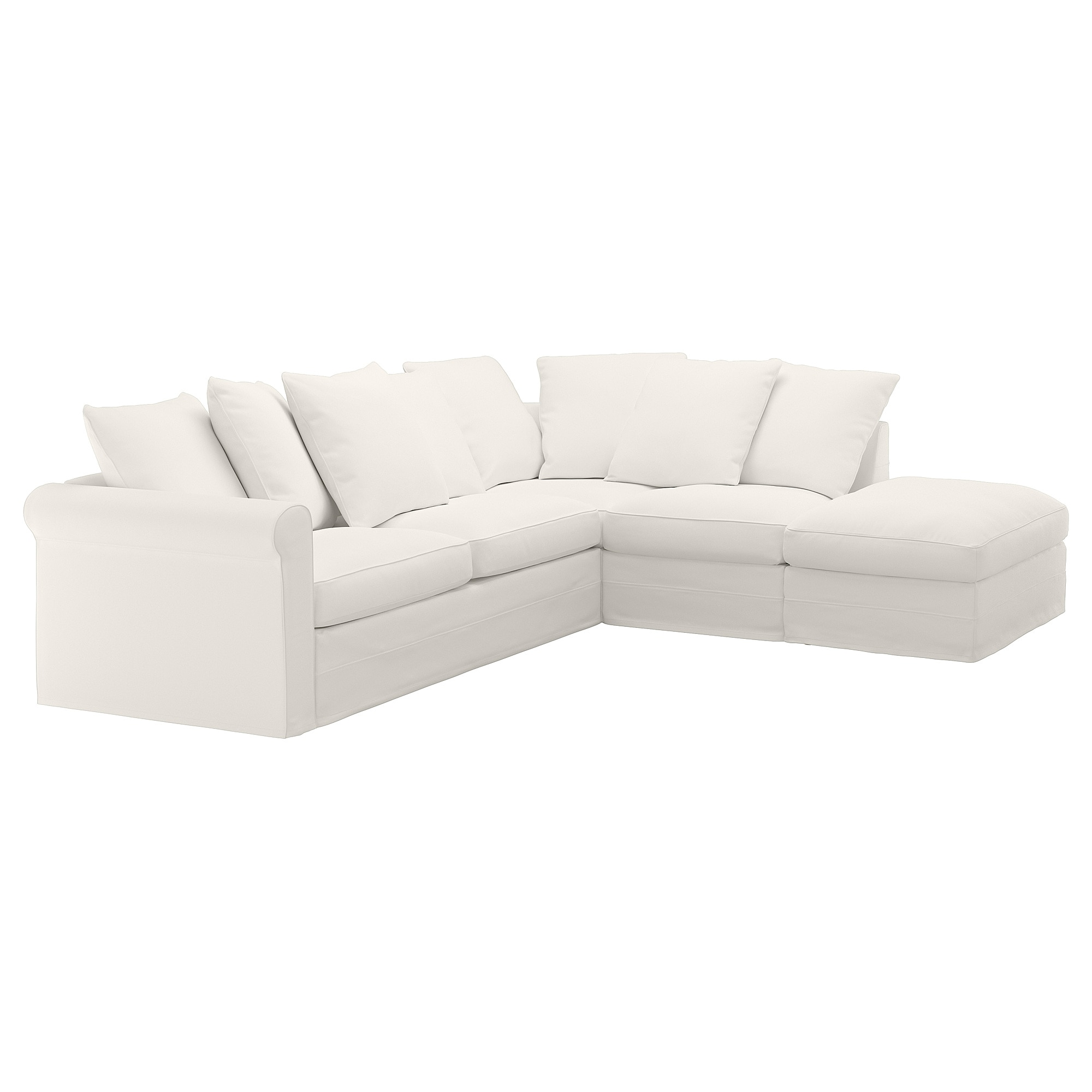 Corner sleeper sofa, 4-seat GRÖNLID with open end, Inseros white