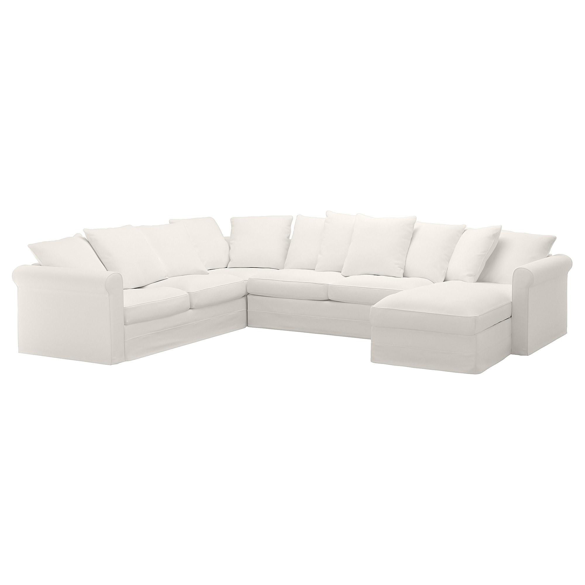 Corner sleeper sofa, 5-seat GRÖNLID with chaise, Inseros white
