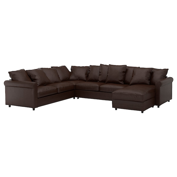 Corner sleeper sofa, 5-seat GRÖNLID with chaise, Kimstad dark brown