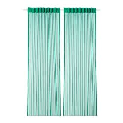 GRÅTISTEL lace curtains, 1 pair, green