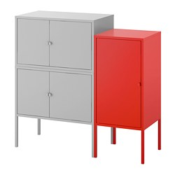 LIXHULT cabinet combination, grey, red