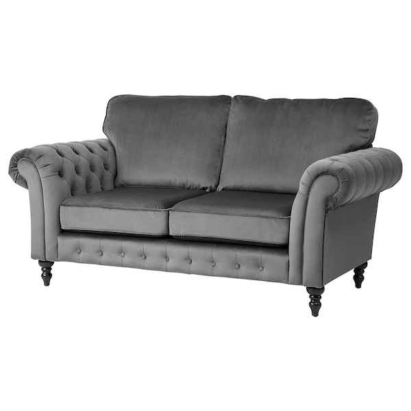2-seat sofa GREVIE velvet grey