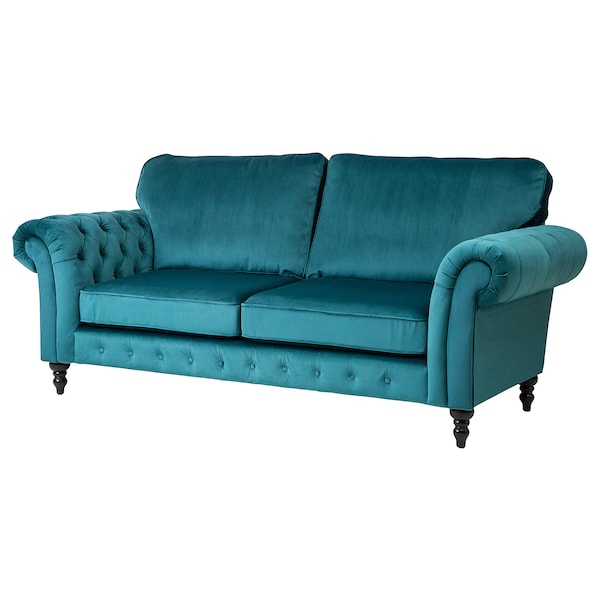 Astounding 3 Seat Sofa Grevie Velvet Blue Download Free Architecture Designs Photstoregrimeyleaguecom
