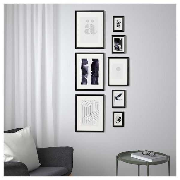IKEA KNOPPÄNG Frame with poster, set of 8