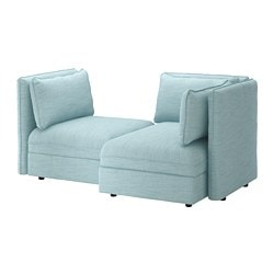 VALLENTUNA modular loveseat, with storage, Hillared light blue