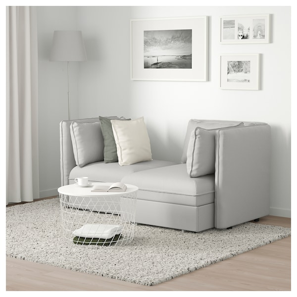 2 Seat Modular Sofa With Bed Vallentuna And Storage Ramna Light Grey