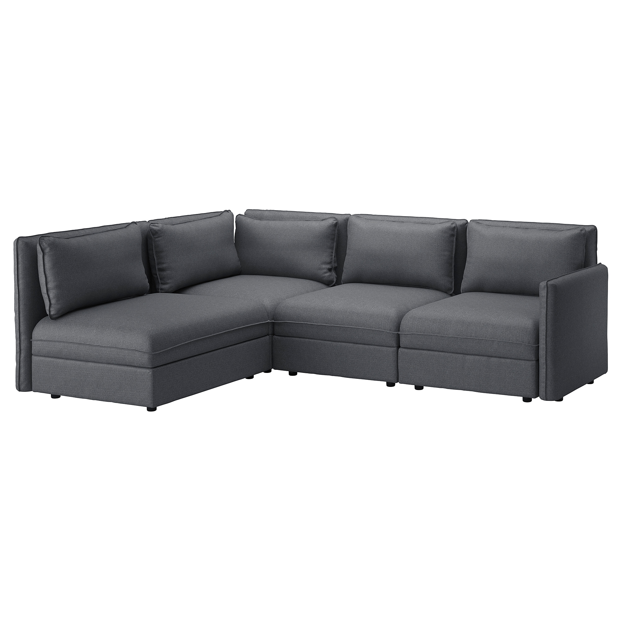 VALLENTUNA Modular corner sofa, 3-seat - with storage, Hillared dark ...