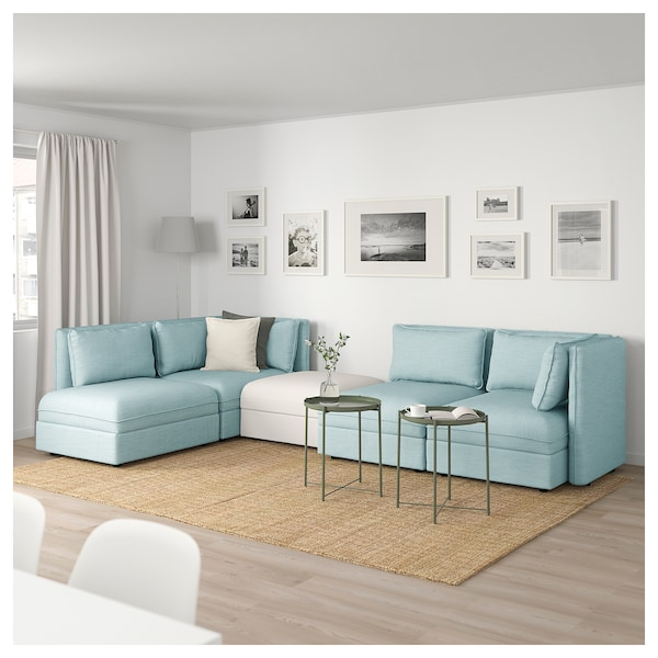 Awesome Modular Corner Sofa 4 Seat Vallentuna With Storage Hillared Murum Light Blue White Frankydiablos Diy Chair Ideas Frankydiabloscom