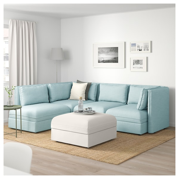 Remarkable Modular Corner Sofa 4 Seat Vallentuna With Storage Hillared Murum Light Blue White Frankydiablos Diy Chair Ideas Frankydiabloscom