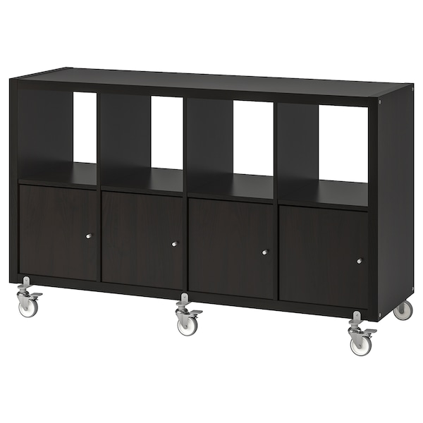 kallax regal mit 4 t ren und rollen schwarzbraun ikea. Black Bedroom Furniture Sets. Home Design Ideas