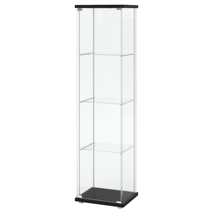 Ikea DETOLF Glass-door cabinet, black-brown, 16 3/4x64 1/8