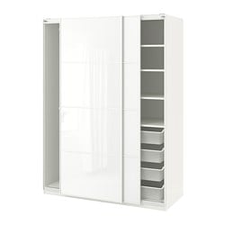 PAX wardrobe, white, Färvik white glass