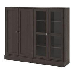 HAVSTA storage combination w glass-doors, dark brown