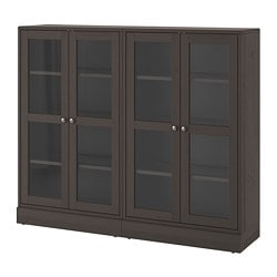 HAVSTA storage combination w glass doors, dark brown