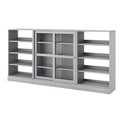 HAVSTA storage with sliding glass doors, gray