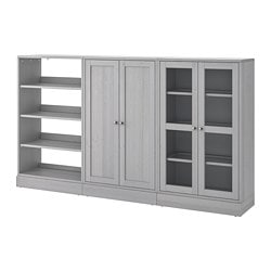 HAVSTA storage combination w/glass doors, gray