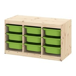 TROFAST storage combination with boxes, pine light white stained pine, green