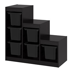 TROFAST storage combination with boxes, black