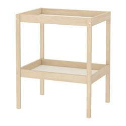 SNIGLAR changing table, beech, white