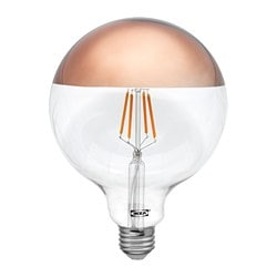 SILLBO LED bulb E26 140 lumen, globe, mirrored top bronze colored