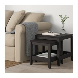 HAVSTA nest of tables, set of 2, dark brown