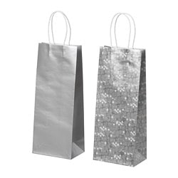 vinter 2018 bottle gift bag silver color