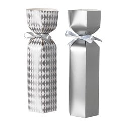 VINTER 2018 gift bag for bottle, silver-colour/white