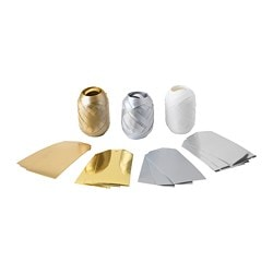 VINTER 2018 15-piece gift wrap decoration set, gold/silver-colour, white