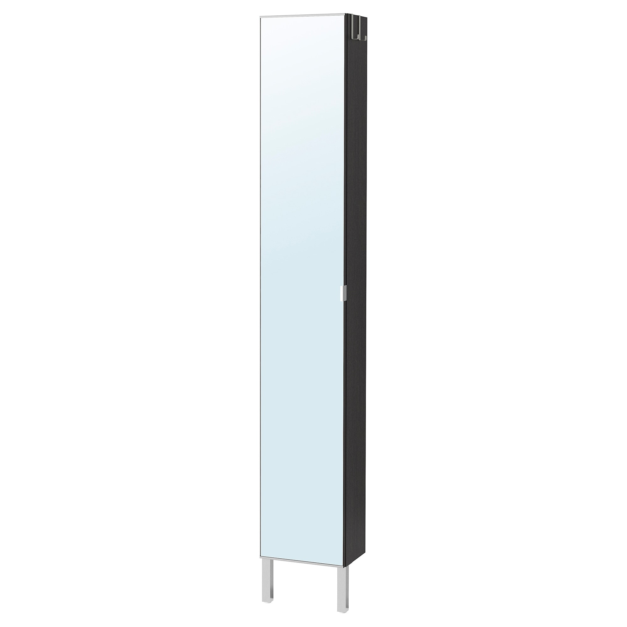lill ngen high cabinet with mirror door stainless steel black rh ikea com mirrored corner tall bathroom cabinet tall mirrored bathroom cabinet argos