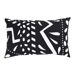MOSAIKBLAD cushion cover, black, white