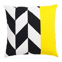 MOSAIKBLAD cushion cover, yellow, black