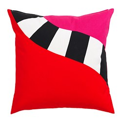 MOSAIKBLAD cushion cover, red, black